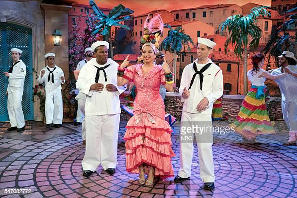 Kenan Thompson Maya Rudolph as Carmen Miranda Mikey Day during the 'Carmen Miranda' sketch on July 12 2016