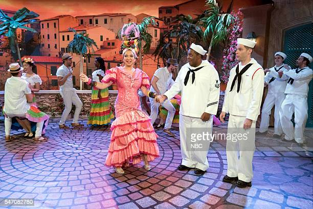 Maya Rudolph as Carmen Miranda Kenan Thompson Mikey Day during the 'Carmen Miranda' sketch on July 12 2016