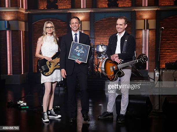 Musical guests Aimee Mann Ted Leo of The Both onstage with host Seth Meyers October 1 2014