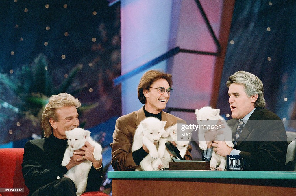 Siegfried Fischbacher, Roy Horn (Siegfried & Roy) during an interview with host <a gi-track='captionPersonalityLinkClicked' href=/galleries/search?phrase=Jay+Leno+-+Television+Host&family=editorial&specificpeople=156431 ng-click='$event.stopPropagation()'>Jay Leno</a> on February 5, 1997 --
