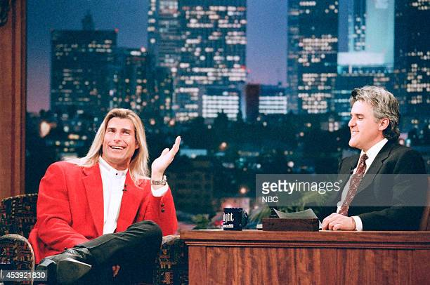 Model Fabio Lanzoni during an interview with host Jay Leno on February 13 1997