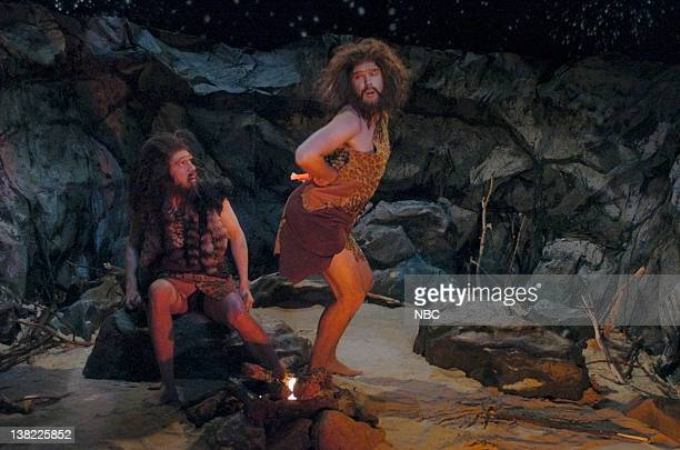 LIVE Episode 11 Aired Pictured Fred Armisen as caveman Jason Sudeikis as Eric during 'The First Person in the History of the World to Dance' skit on...
