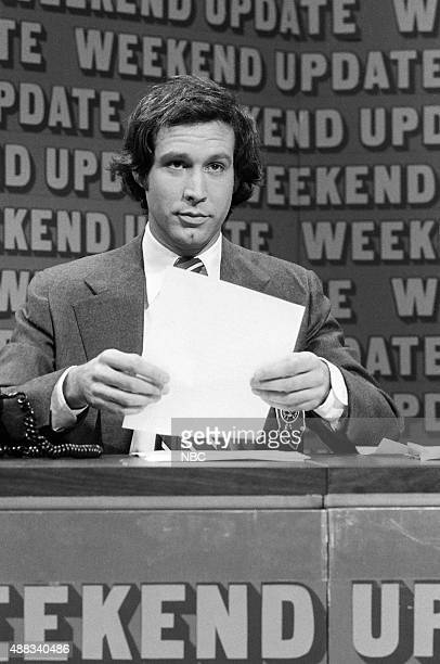 Chevy Chase during 'Weekend Update' on February 18 1978