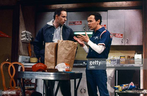 Christopher Guest as Phil and Billy Crystal as Ricky during the 'Super Sunday' skit on January 19 1985