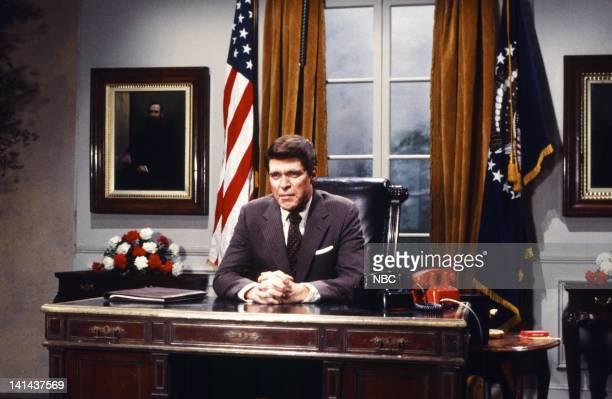 Joe Piscopo as President Ronald Reagan during the 'TV President' skit on January 28 1984 Photo by Reggie Lewis/NBC/NBCU Photo Bank