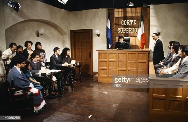 Robert Smigel as attorney Phil Hartman as Keyrock Julia Sweeney as judge Rob Schneider as juror during the 'Unfrozen Cave Man Lawyer' skit on January...