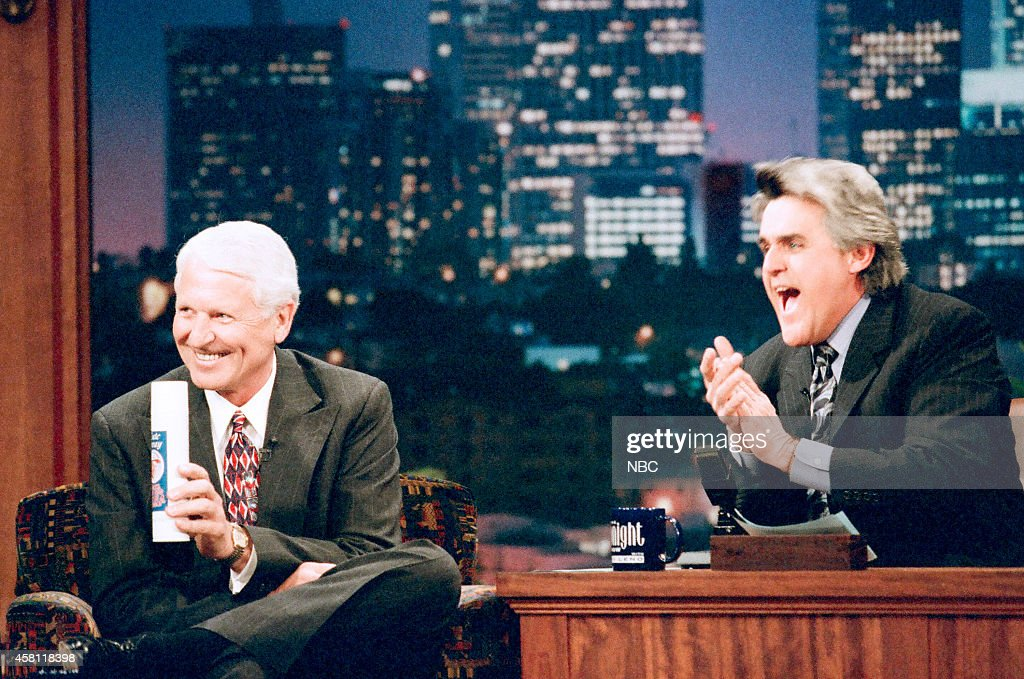 Arizona Wildcats basketball coach Lute Olsen during an interview with host Jay Leno on April 2, 1997 --
