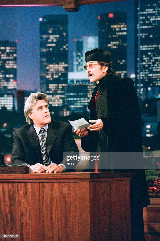 Host Jay Leno and Don Novello as Father Guido Sarducci on April 2, 1997 --
