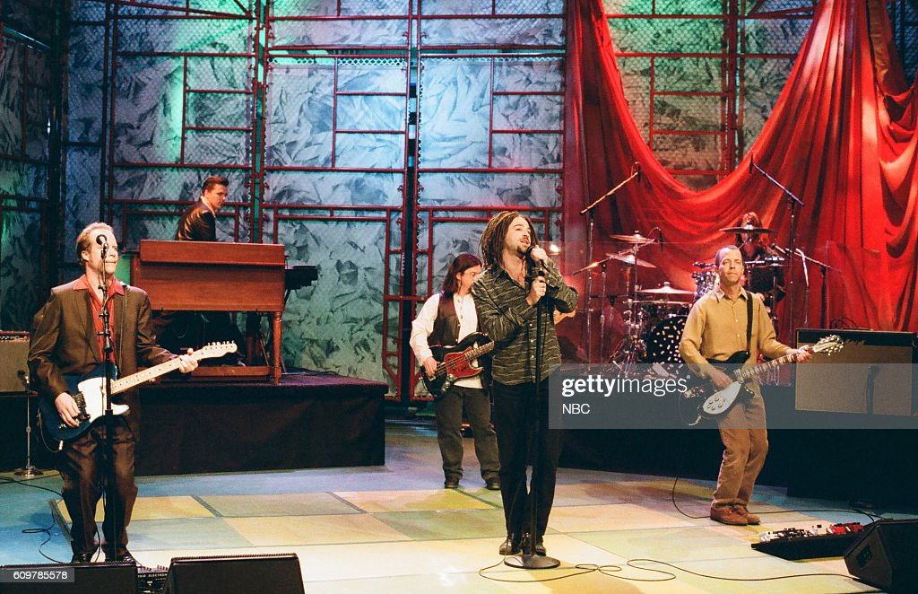 Dan Vickrey, Charlie Gillingham, Matt Malley (back middle), Adam Duritz, and David Bryson of Counting Crows perform on April 10, 1997 --