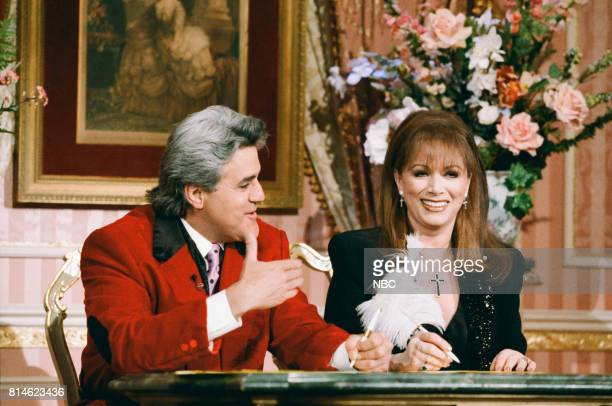 Host Jay Leno performing a sketch with actress Kathie Lee Gifford on April 16 1997