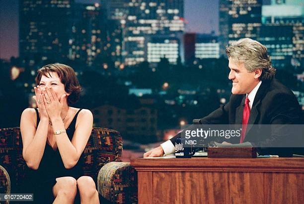 Actress Milla Jovovich during an interview with host Jay Leno on May 13 1997