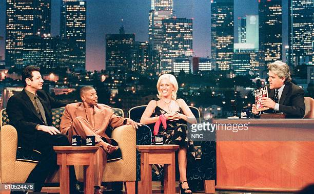 Actor Jeff Goldblum NBA athlete Muggsy Bogue actress Annie Wood during an interview with host Jay Leno on May 27 1997