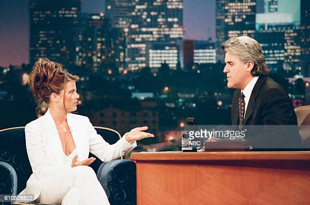 Actress Yasmine Bleeth during an interview with host Jay Leno on May 28 1997