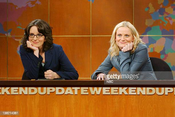 LIVE Episode 12 Aired Pictured Tina Fey Amy Poehler during 'Weekend Update' skit on February 4 2006