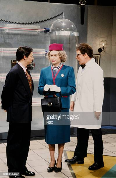 Dana Carvey as Prince Charles Mike Myers as Queen Elizabeth Phil Hartman as Sir Anthony during 'The Tampon Prince' skit on February 6 1993