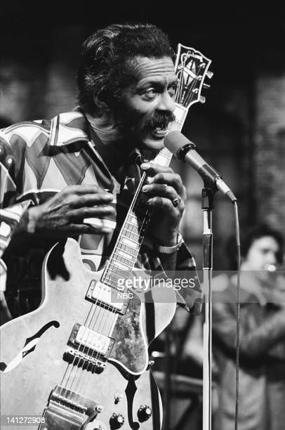 Musical guest Chuck Berry performs on January 22 1977 Photo by NBCU Photo Bank