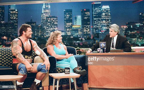 Weightlifters George Olesen and Michelle Sorensen during an interview with host Jay Leno on August 11 1997