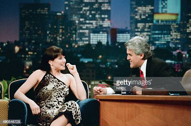Actress Lucy Lawless during an interview with host Jay Leno on August 18 1997