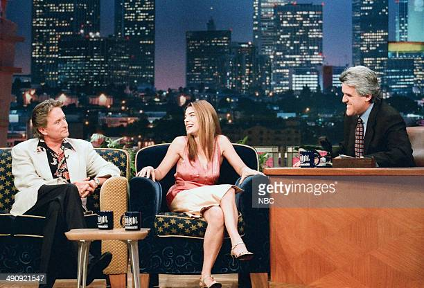 Actor Michael Douglas and actress Laura San Giacomo during an interview with host Jay Leno on September 10 1997