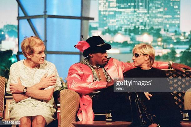 Actor Jack Riley professional basketball player Dennis Rodman and comedian Ellen DeGeneres on September 25 1997