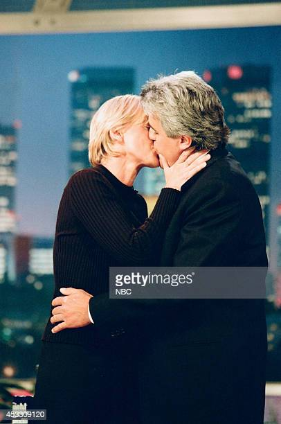 Comedian Ellen DGeneres kisses host Jay Leno on September 25 1997