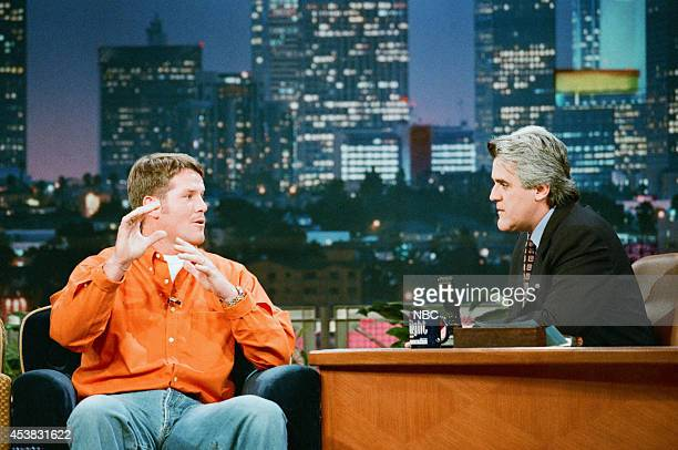 Professional football player Brett Favre during an interview with host Jay Leno on October 13 1997