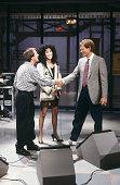 Musical guests Sonny Bono Cher of Sonny Cher host David Letterman on November 13 1987
