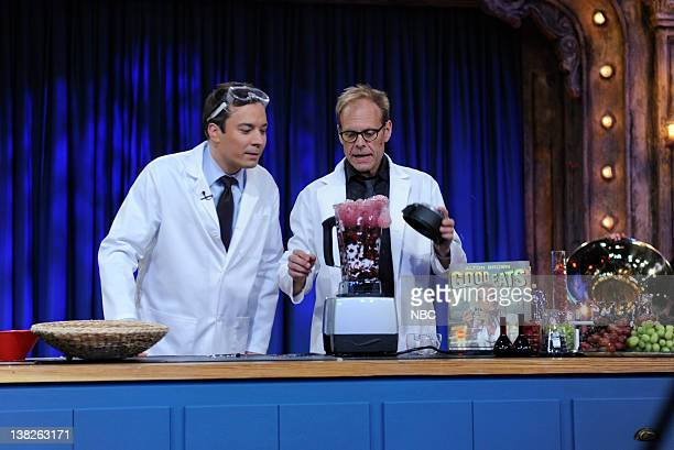FALLON Episode 128 Airdate Pictured Host Jimmy Fallon during an experiment with chef/host Alton Brown on October 8 2009