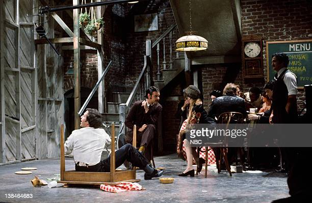 LIVE Episode 13 Air Date Pictured Chevy Chase as Jimmy the Waiter Dan Aykroyd as Roger Gilda Radner during the 'St Valentine's Day' skit on February...