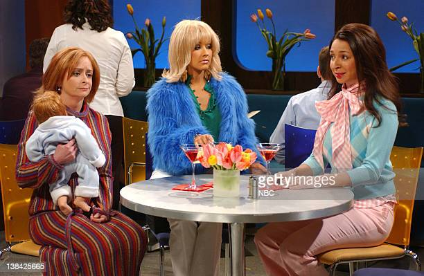 LIVE Episode 13 Air Date Pictured Rachel Dratch as Miranda Christina Aguilera as Samantha Maya Rudolph as Charlotte during the 'Sex and the City'...