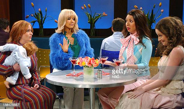 LIVE Episode 13 Air Date Pictured Rachel Dratch as Miranda Christina Aguilera as Samantha Maya Rudolph as Charlotte Amy Poehler as Carrie during the...