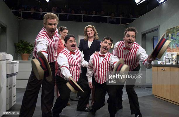 LIVE Episode 13 Aired Pictured Ana Gasteyer as Pam Will Ferrell Horatio Sanz Chris Parnell Jimmy Fallon as singers during 'Passive Aggresive Pam' skit