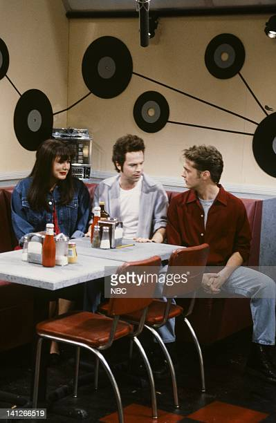 Victoria Jackson as Kelly Dana Carvey as Dylan Jason Priestley as Brandon during 'Beverly Hills 90210' skit on February 15 1992 Photo by Al...