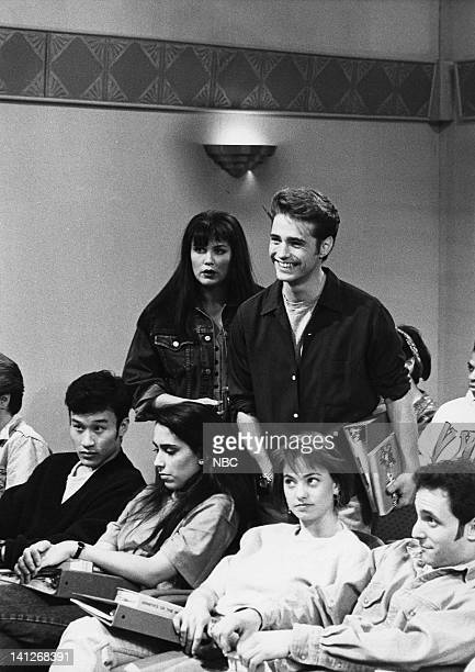 Victoria Jackson as Kelly Jason Priestley as Brandon during 'Beverly Hills 90210' skit on February 15 1992 Photo by Al Levine/NBCU Photo Bank