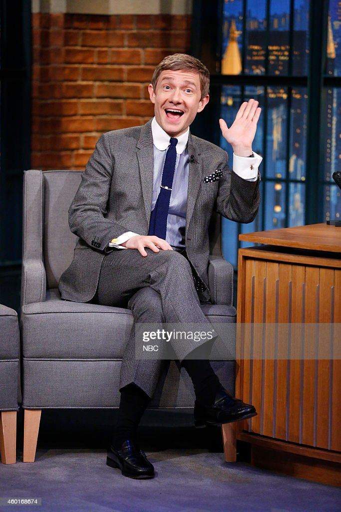 Actor <a gi-track='captionPersonalityLinkClicked' href=/galleries/search?phrase=Martin+Freeman&family=editorial&specificpeople=214753 ng-click='$event.stopPropagation()'>Martin Freeman</a> during an interview on December 8, 2014 --