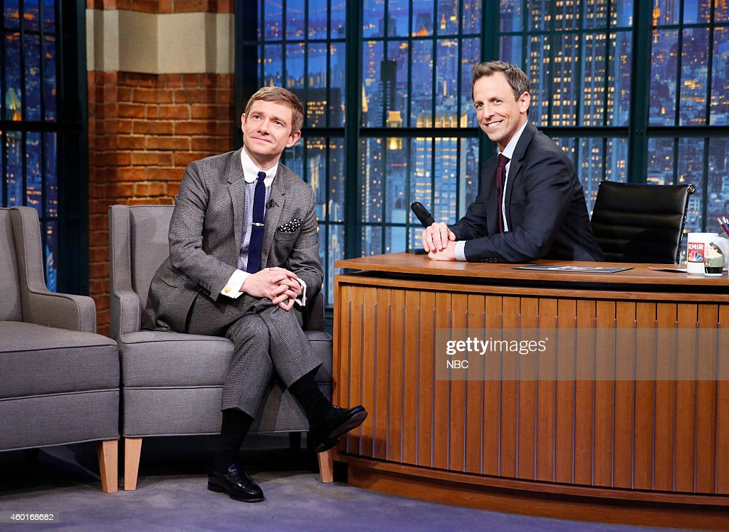 Actor Martin Freeman during an interview with host Seth Meyers on December 8, 2014 --