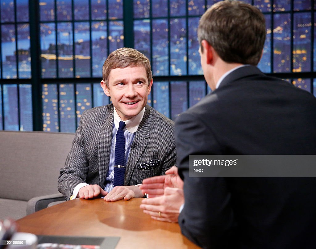 Actor <a gi-track='captionPersonalityLinkClicked' href=/galleries/search?phrase=Martin+Freeman&family=editorial&specificpeople=214753 ng-click='$event.stopPropagation()'>Martin Freeman</a> during an interview with host <a gi-track='captionPersonalityLinkClicked' href=/galleries/search?phrase=Seth+Meyers&family=editorial&specificpeople=618859 ng-click='$event.stopPropagation()'>Seth Meyers</a> on December 8, 2014 --