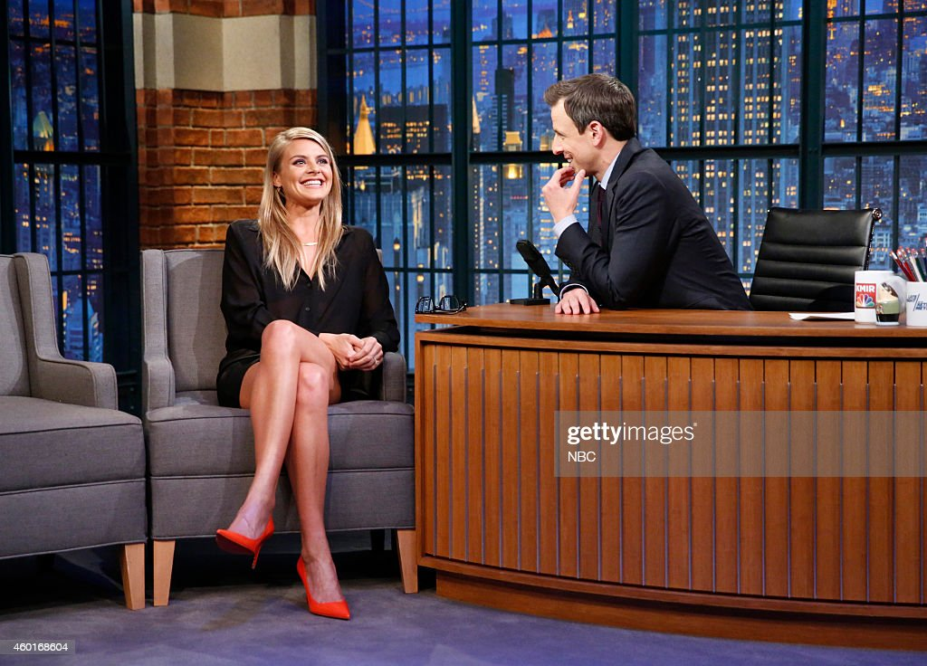 Actress <a gi-track='captionPersonalityLinkClicked' href=/galleries/search?phrase=Eliza+Coupe&family=editorial&specificpeople=4500884 ng-click='$event.stopPropagation()'>Eliza Coupe</a> during an interview with host <a gi-track='captionPersonalityLinkClicked' href=/galleries/search?phrase=Seth+Meyers&family=editorial&specificpeople=618859 ng-click='$event.stopPropagation()'>Seth Meyers</a> on December 8, 2014 --