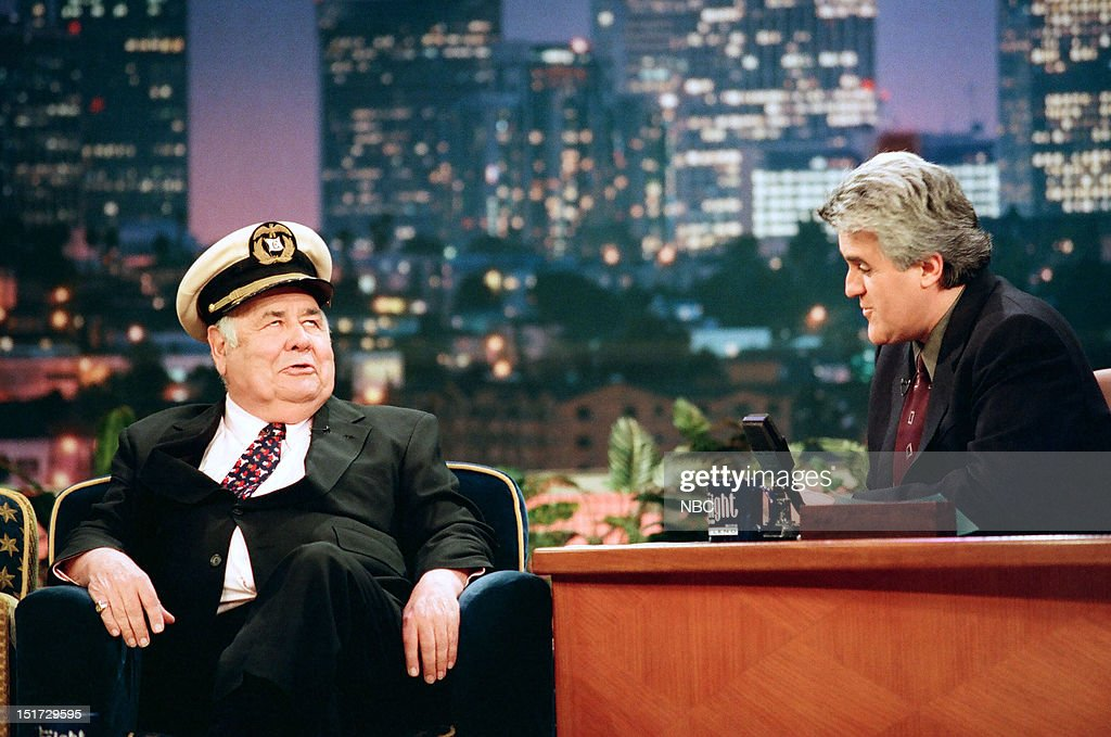 Actor/comedian <a gi-track='captionPersonalityLinkClicked' href=/galleries/search?phrase=Jonathan+Winters&family=editorial&specificpeople=938970 ng-click='$event.stopPropagation()'>Jonathan Winters</a> during an interview with host Jay Leno on June 5, 1998 --