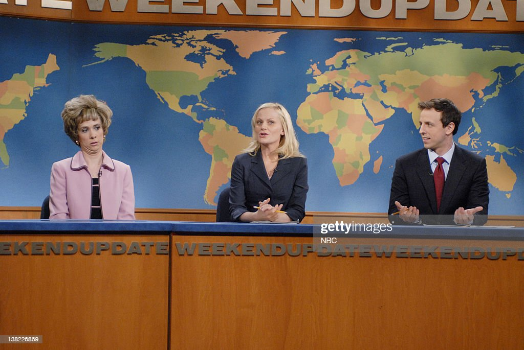 LIVE Episode 14 Aired Pictured Kristen Wiig as Aunt Linda Amy Poehler Seth Meyers during 'Weekend Update' skit on February 24 2007