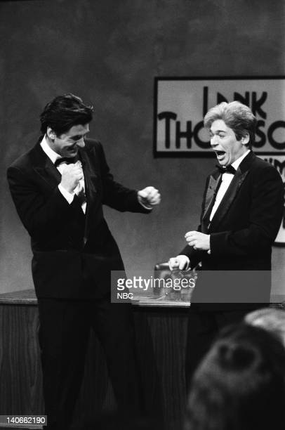 Alec Baldwin Mike Myers as Lank Thompson during the 'Lank Thompson I'm A Handsome Actor' skit on February 23 1991 Photo by Raymond Bonar/NBCU Photo...