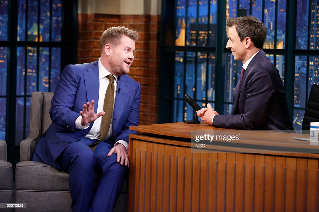 Actor <a gi-track='captionPersonalityLinkClicked' href=/galleries/search?phrase=James+Corden&family=editorial&specificpeople=673860 ng-click='$event.stopPropagation()'>James Corden</a> during an interview with host <a gi-track='captionPersonalityLinkClicked' href=/galleries/search?phrase=Seth+Meyers&family=editorial&specificpeople=618859 ng-click='$event.stopPropagation()'>Seth Meyers</a> on December 16, 2014 --