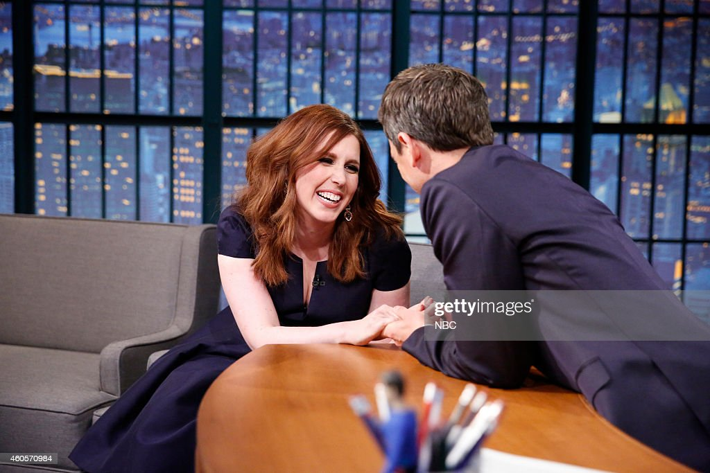 Actress <a gi-track='captionPersonalityLinkClicked' href=/galleries/search?phrase=Vanessa+Bayer&family=editorial&specificpeople=7346101 ng-click='$event.stopPropagation()'>Vanessa Bayer</a> during an interview with host <a gi-track='captionPersonalityLinkClicked' href=/galleries/search?phrase=Seth+Meyers&family=editorial&specificpeople=618859 ng-click='$event.stopPropagation()'>Seth Meyers</a> on December 16, 2014 --