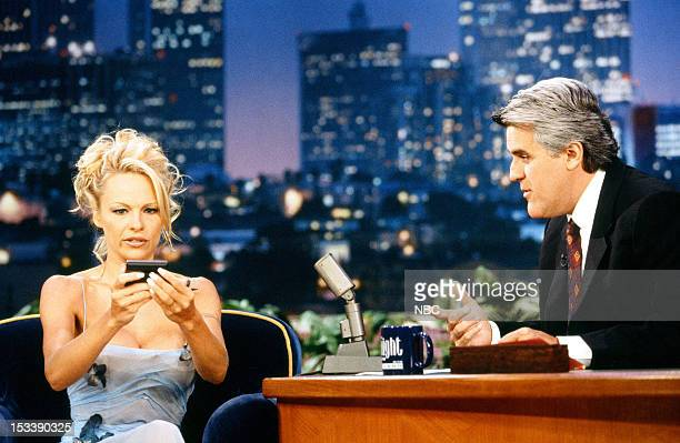 Actress Pamela Anderson during an interview with host Jay Leno on July 17 1998