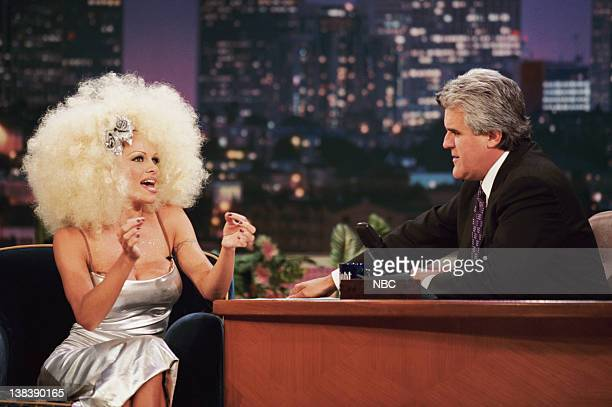 Actress Pamela Anderson Lee during an interview with host Jay Leno on September 24 1998