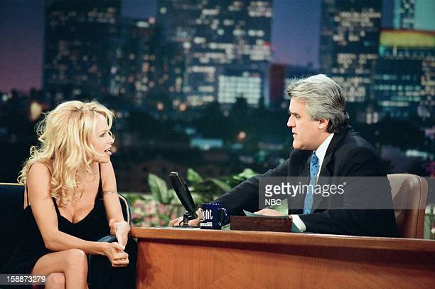 Actress Pamela Anderson Lee during an interview with host Jay Leno on November 10 1998