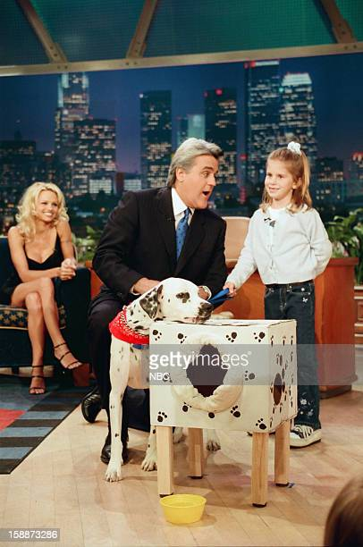 Actress Pamela Anderson Lee host Jay Leno with a kid during 'Kid Inventors' segment on November 10 1998