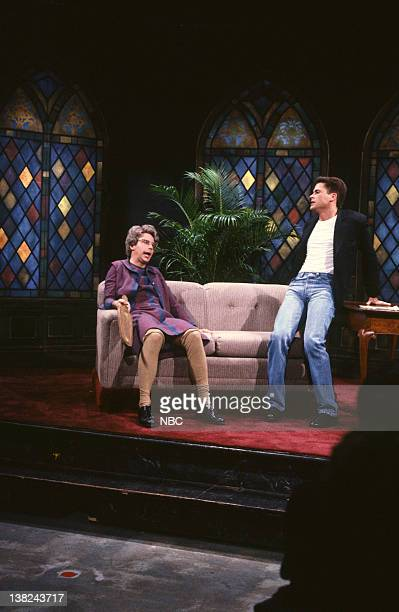 LIVE Episode 15 Air Date Pictured Dana Carvey as Church Lady Rob Lowe during the 'Church Chat' skit on March 17 1990