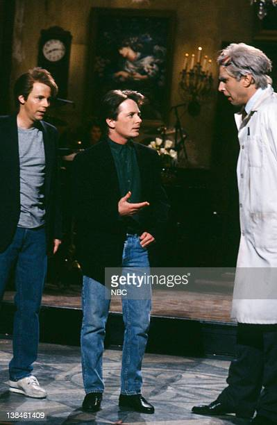 Dana Carvey as Michael J Fox Michael J Fox Kevin Nealon as Doc during the Monologue on March 16 1991