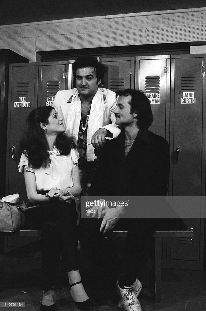 Gilda Radner, John Belushi, <a gi-track='captionPersonalityLinkClicked' href=/galleries/search?phrase=Bill+Murray&family=editorial&specificpeople=171116 ng-click='$event.stopPropagation()'>Bill Murray</a> during the 'Locker Room' skit on March 25, 1978 -- Photo by: NBCU Photo Bank
